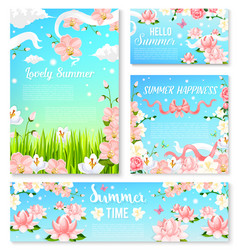 Summer time flowers banner and poster template set vector