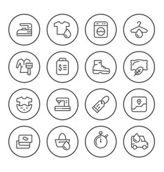 Set round line icons of laundry vector
