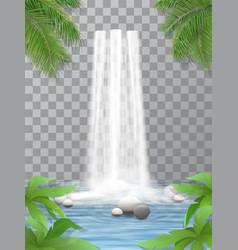 Waterfall stones jungle vector