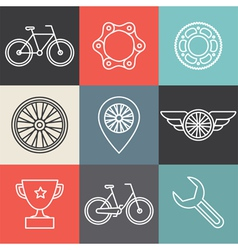 Bike outline emblems vector