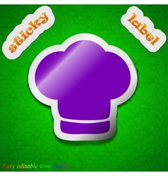 Chef hat icon sign symbol chic colored sticky vector