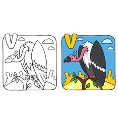 Funny vulture coloring book alphabet v vector