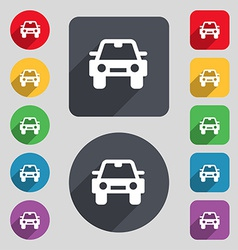 Auto icon sign a set of 12 colored buttons and a vector