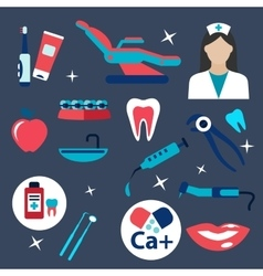Dentistry and hygiene flat icons vector