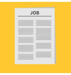 Job newspaper icon flat design isolated yellow vector