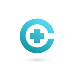 Letter c cross plus logo icon design template vector
