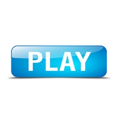 play blue square 3d realistic isolated web button vector image