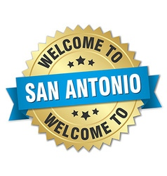 San antonio 3d gold badge with blue ribbon vector