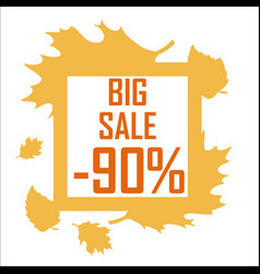 a big autumn sale of ninety percent surrounded by vector image vector image