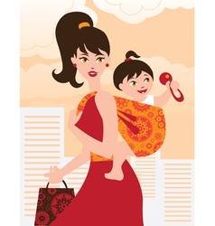 Active mother with baby girl in a sling vector image