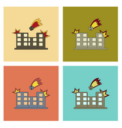 Assembly flat icons meteorite falling on house vector