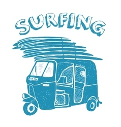 Blue tuk-tuk with surfboards grunge vintage logo vector