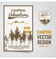 Camping adventure brochure and label the vector