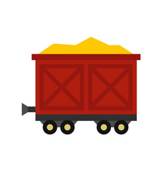 Cart on wheels with gold icon flat style vector