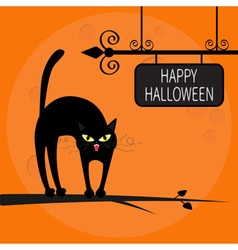Cat arch back on tree branch Happy Halloween vector image