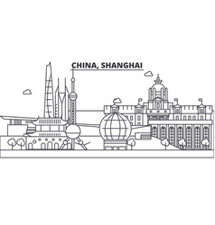 china shanghai architecture line skyline vector image