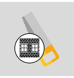 Construction brick saw icon graphic vector