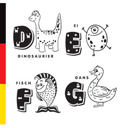 Deutsch alphabet dinosaur egg fish goose vector
