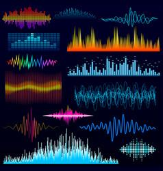 digital music equalizer audio waves design vector image