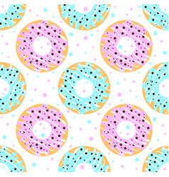 donuts with blue and pink icing vector image vector image