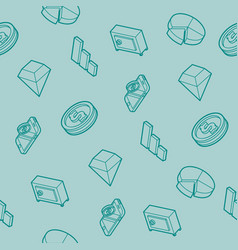Finance flat outline isometric pattern vector