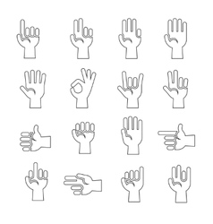 Hands gestures icons set in black and white vector image vector image