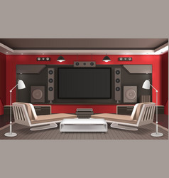 home theater interior 3d design vector image