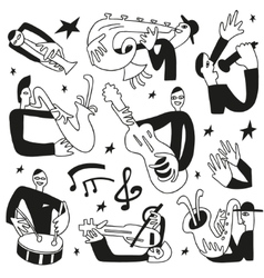 jazz musicians - doodles set vector image