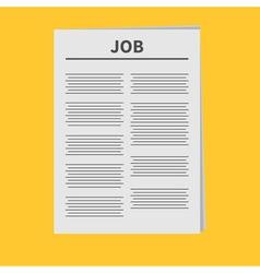 Job newspaper icon flat design isolated yellow vector