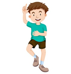 Little boy pointing the finger up vector image vector image