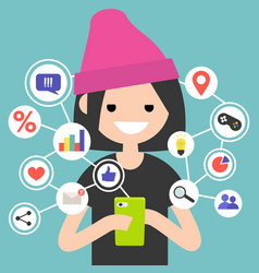 millennial consuming online content on mobile vector image vector image