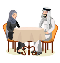 muslim couple sit together at the table together vector image vector image