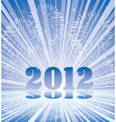 new year 2012 numbers with fireworks and rays of l vector image