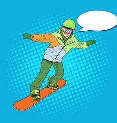 Pop art man in sportswear with snowboard vector