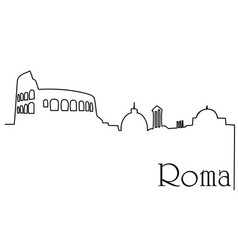 Roma city one line drawing background vector
