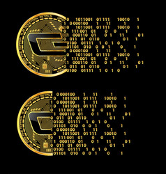 set of crypto currency dash golden symbols vector image vector image