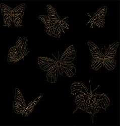 Set of golden butterflies vector image
