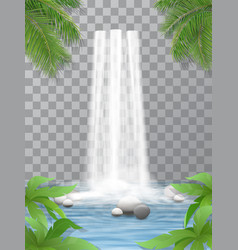 Waterfall stones jungle vector