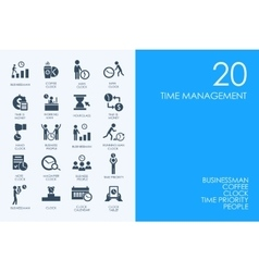 Set of blue hamster library time management icons vector