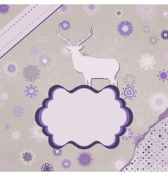 Christmas reindeer card template vector image