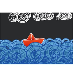 Paper ship floating on blue waves vector