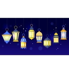 Ramadan lanterns row vector