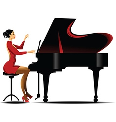 Girl playing piano vector