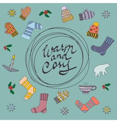 Merry christmas card warm and cosy vector
