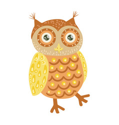 Owl cute toy animal with detailed elements part of vector