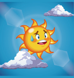 character sun sweat cute face - cartoon in the vector image