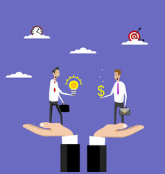 Hands holds businessmen who buy idea vector