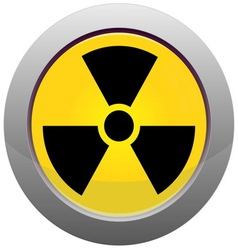 Button with radiation sign vector image