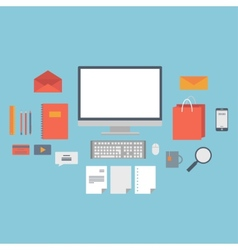 Set of web icons for business flat design finance vector image