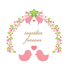 Love birds with a wreath vector